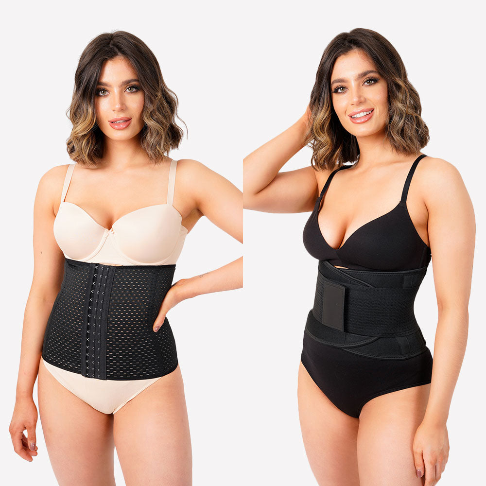 Pack of 2 - Everyday Waist Trainer and Sweat Fitness Belt - Black