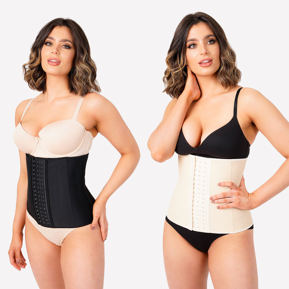 Pack of 2 - Latex Waist Trainer - Black and Nude