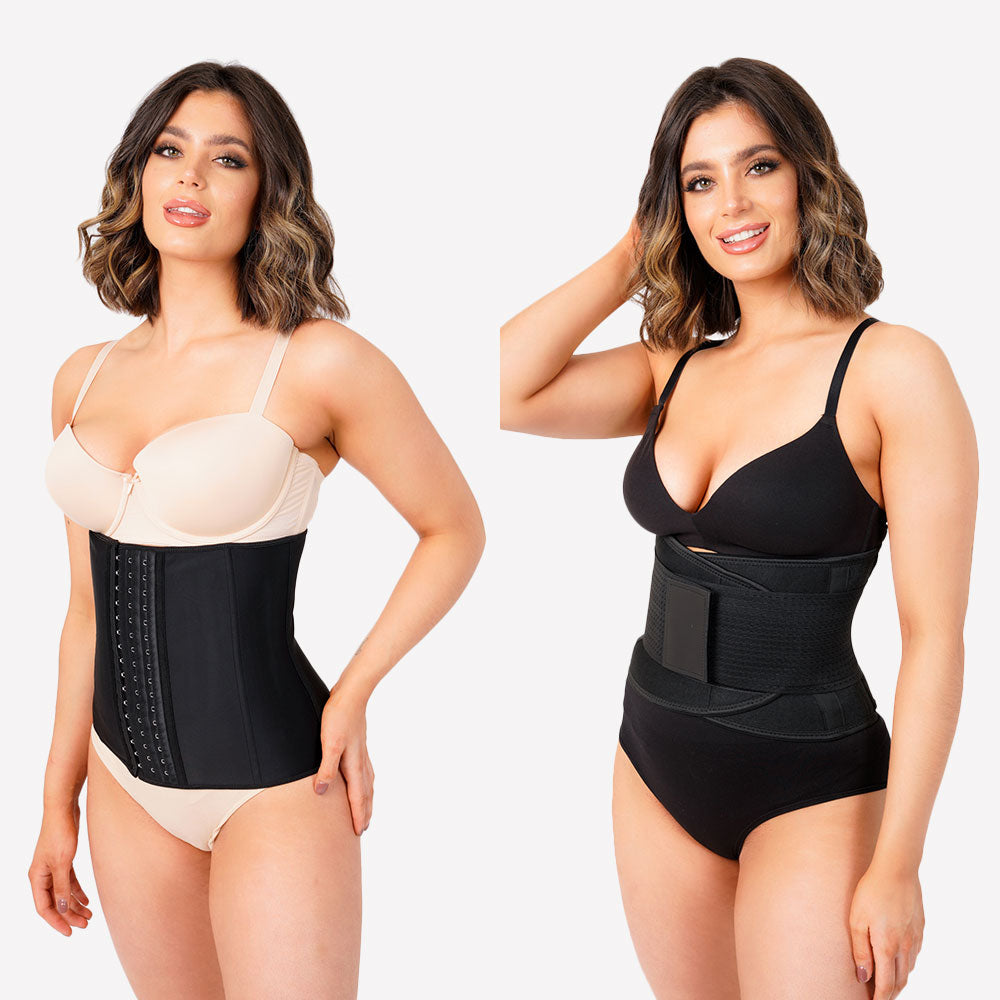 Pack Of 2 -  Latex Waist Trainer and Sweat Fitness Belt - Black