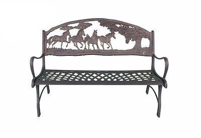 Solid Cast Iron Bench - Horses & Countryside - Coast & Country Store - 1
