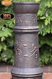 Toledo Cast Iron Chiminea & BBQ Grill - Flower Motif - Coast & Country Store - 2