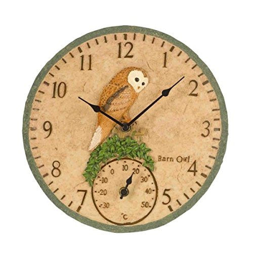 "Barn Owl Inside / Outdoor In Garden Bird Wall Clock and Thermometer 30cm 12"" - Coast & Country Store - 1"