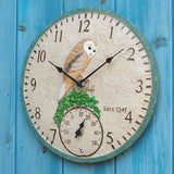 "Barn Owl Inside / Outdoor In Garden Bird Wall Clock and Thermometer 30cm 12"" - Coast & Country Store - 2"