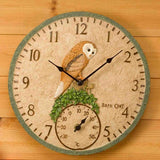 "Barn Owl Inside / Outdoor In Garden Bird Wall Clock and Thermometer 30cm 12"" - Coast & Country Store - 3"