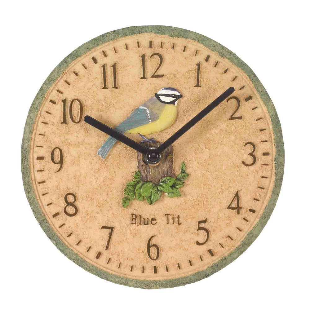 "Outside In Blue Tit Garden Wall Clock 8"" - Coast & Country Store - 1"