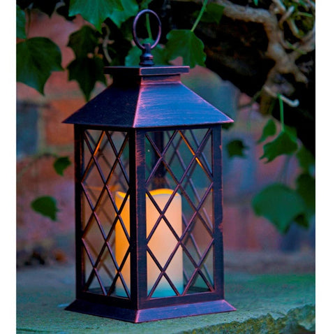 Lattice LED Candle Lantern Flickering Glow Auto-Timer Battery Operated - Coast & Country Store - 1
