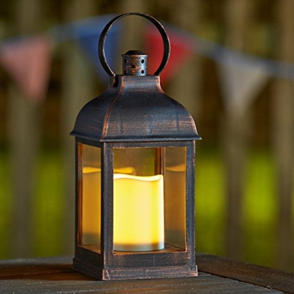 Crusade LED Candle Lantern Flickering Glow Auto-Timer Battery Operated - Coast & Country Store - 1