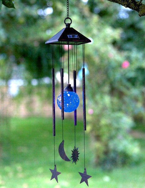 Sun Moon & Star colour change LED Solar Powered Wind Chimes Smart Garden - Coast & Country Store - 1