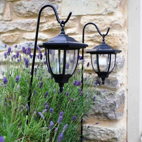 2 x Black Coach Hanging Garden Lantern on Shepherd's Crook LED Smart Solar Light - Coast & Country Store - 1