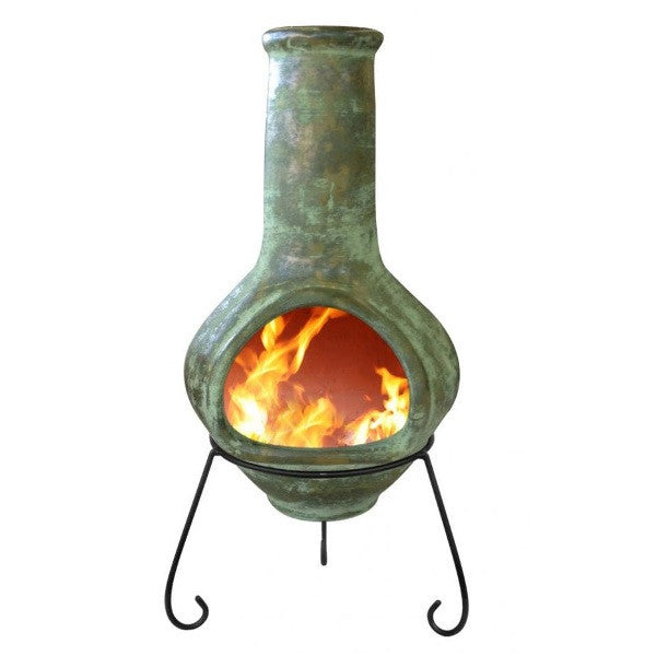 Rustic Green Tibor Jumbo Mexican Clay Chiminea - Coast & Country Store - 1