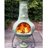 Rustic Green Tibor Jumbo Mexican Clay Chiminea - Coast & Country Store - 2