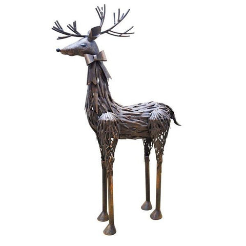 Metal Christmas Reindeer Sculpture Bronzed Leaf - 50% OFF - Coast & Country Store - 1