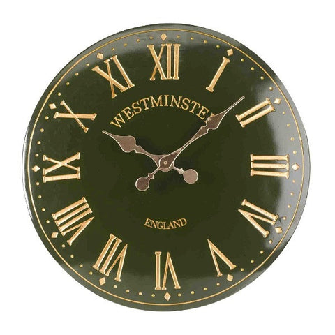 "Green Westminster Tower Outdoor Indoor Garden Wall Clock 30cm 12"" Roman Numeral - Coast & Country Store - 1"