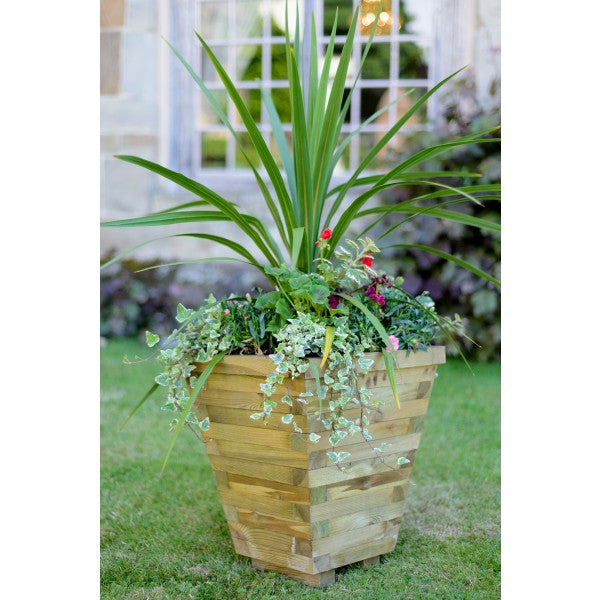 Contemporary Wooden Tapered Pot Planter - Fully Assembled