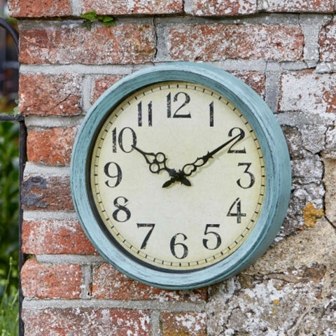 "Cambridge Vintage Design Indoor Outdoor Wall Clock - Blue 14"" (35.5cm)"