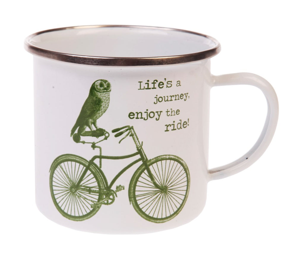 Life's a Journey Owl on a Bike Enamel Mug - Antique White and Green - Coast & Country Store