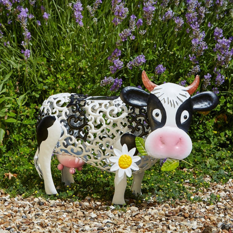 Daisy Cow Garden Solar Lantern and Decorative Metal Ornament