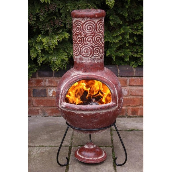 Large Handmade Mexican Clay Chiminea - Espiral Red - Coast & Country Store