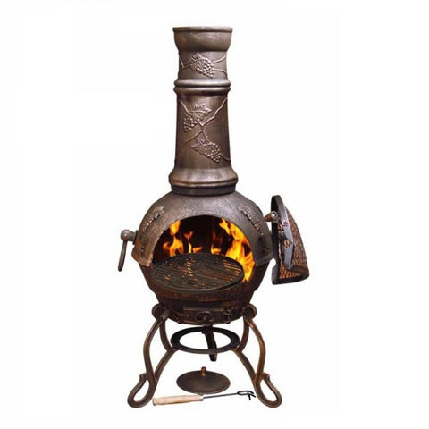 Toledo Solid Cast Iron Chiminea & BBQ - Bronze Grape Motif - Coast & Country Store - 1