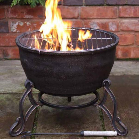 Elidir Short Cast Iron Fire Pit / Bowl & BBQ Grill - Coast & Country Store - 1