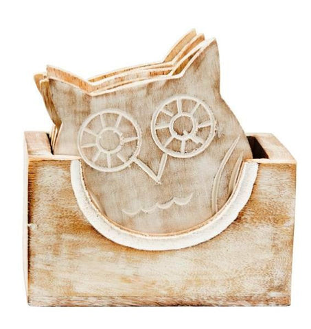Rustic White Mango Wood Owl Coaster Set of 6 - Coast & Country Store - 1