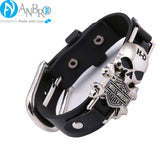 Harley Davidson Logo Men Wristband Leather Bracelet - ANBRO2 Kuwait fashion men Bracelet