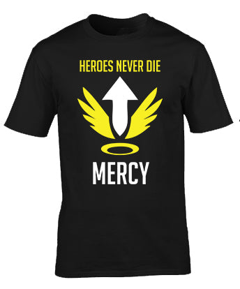 Overwatch Mercy Heroes Never Die Tshirt Custom printing Kuwait Apparel Clothing Fashion Men Women Kids Stylish