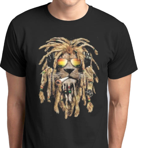 ANBRO2 Kuwait - Reggae Lion Smoking Custom printed T-Shirt Men Fashion Apparel Clothing