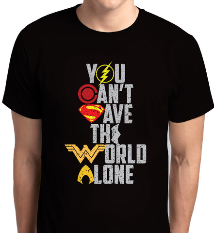 Justice League You Can't Save the World Alone Black T-Shirt