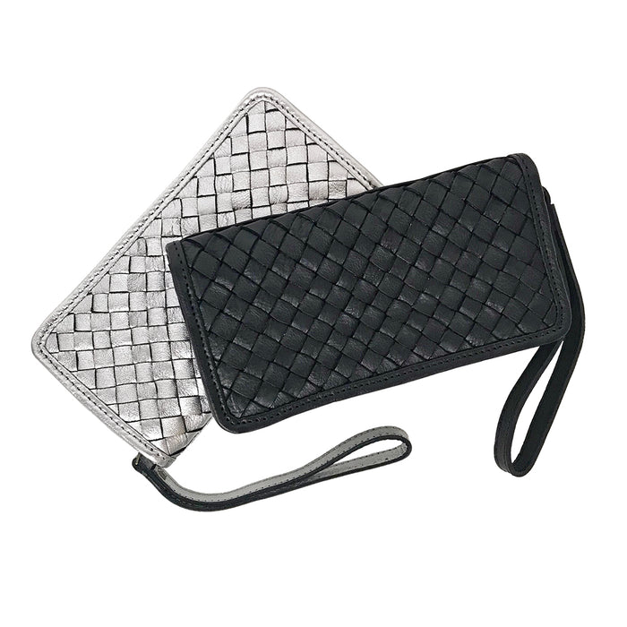 Wristlet wallet with outer zipper closure, interior zipper pocket and open pockets in metallics and black