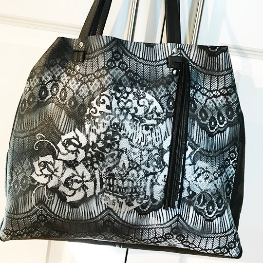 Bella Black Matte w Lace - Tote Bag - Lara B. Designs, Inc.