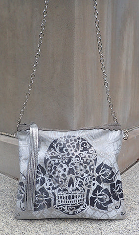 Buca Sugar Skull Silver Platinum - Crossbody - Lara B. Designs, Inc.