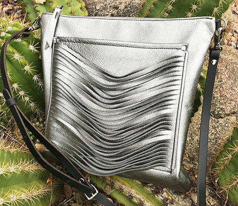 Cleo Messenger Pewter Pearl - Crossbody - Lara B. Designs, Inc.