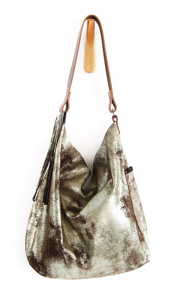 Febe Hobo Brown Platinum - Tote Bag - Lara B. Designs, Inc.