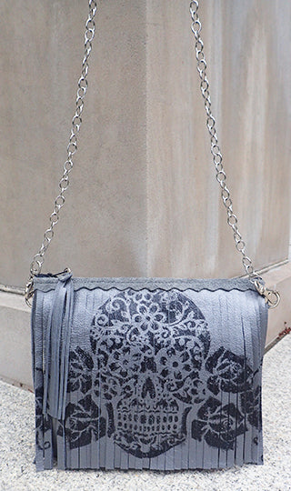 Maya Sugar Skull Gunmetal - Crossbody - Lara B. Designs, Inc.