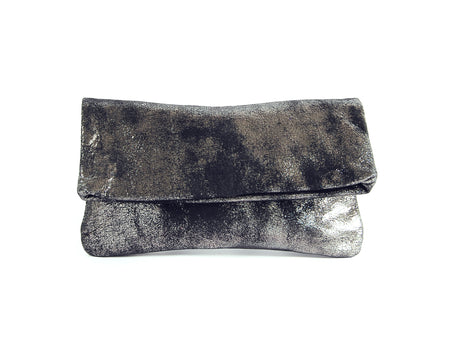 Alexa Black Platinum Clutch - Fold Over Clutch - Lara B. Designs, Inc.