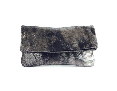 Alexa Black Platinum - Fold Over Clutch - Lara B. Designs, Inc.