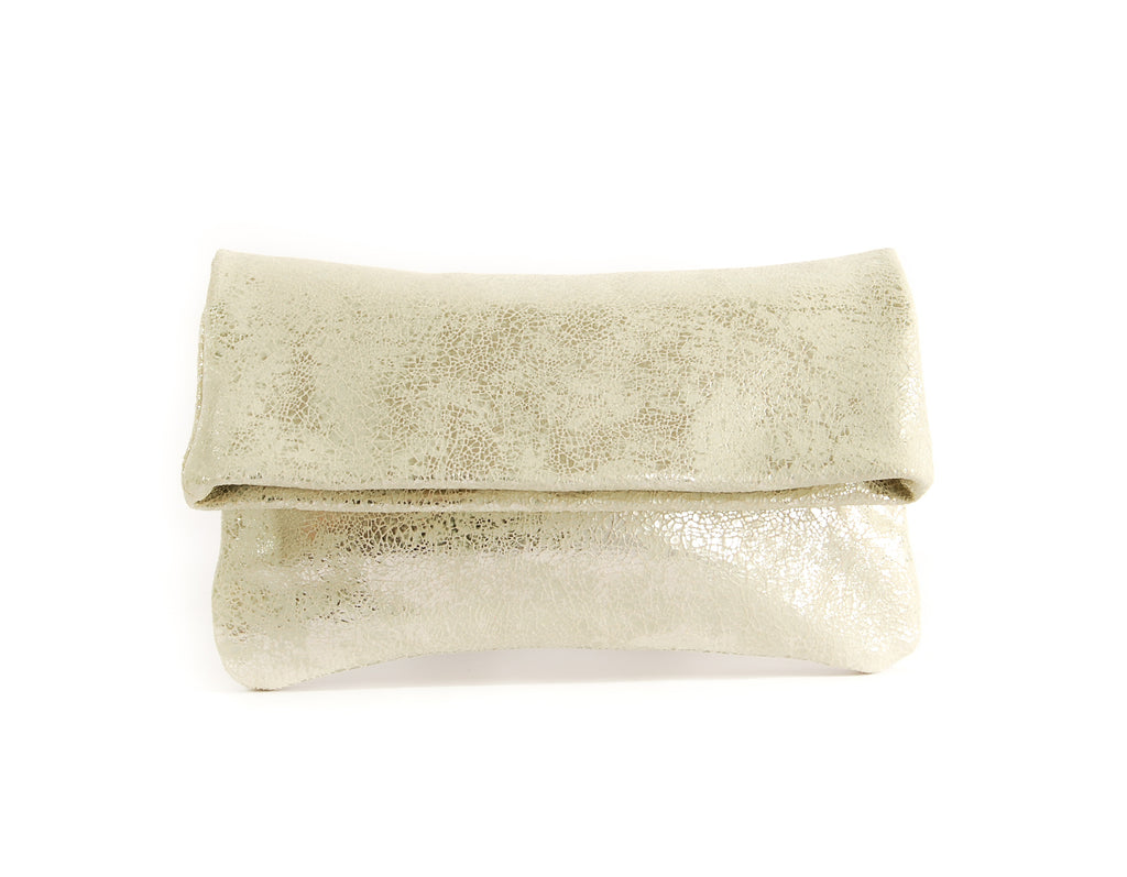 Alexa Gold Crackle - Fold Over Clutch - Lara B. Designs, Inc.