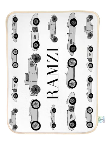 Vintage Car Baby set blanket & bib