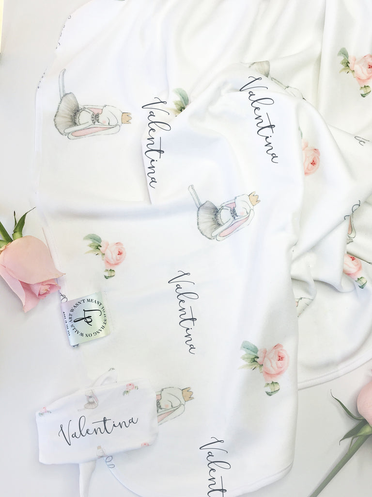 "Some bunny loves you ""welcome home"" swaddle set"