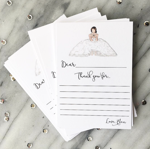 Personalized Bridal Stationery Thank You Cards