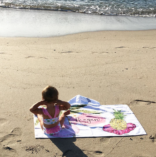 Toddler Tropical hooded Personalized Beach Towel
