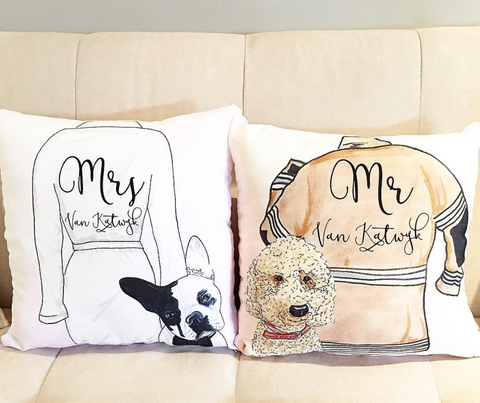 Mr & Mrs Dog Pillow set