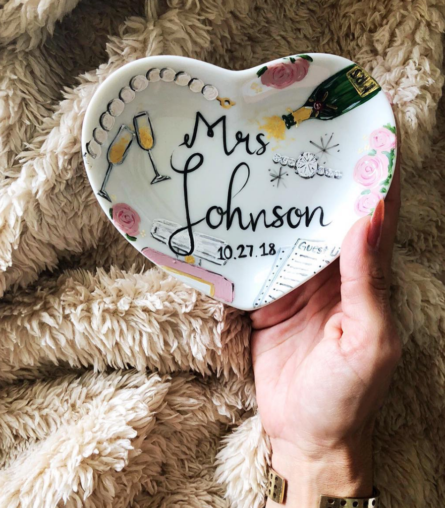 Hand painted Porcelian Heart Ring Dish