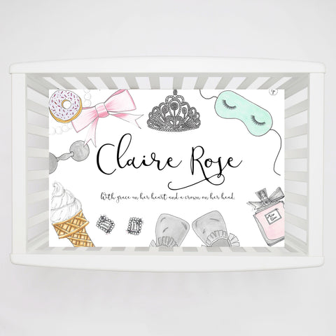 Breakfast at Tiffanys Personalized Crib Sheet