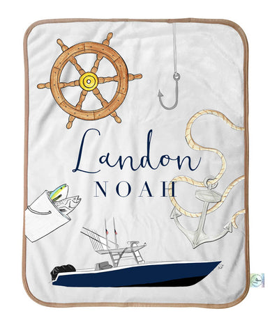 Nautical baby boy blanket