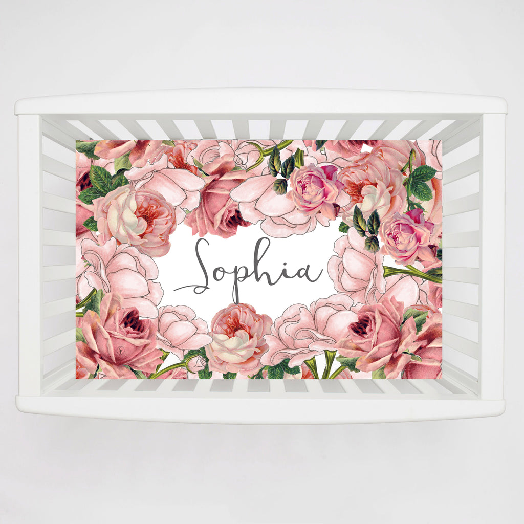 Personalized Floral Crib