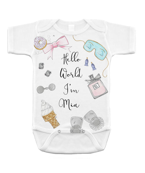 "Personalized Baby Onesie - "" Hello world I'm ..."""
