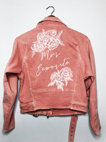 Custom Handpainted Bridal Leather or denim Jacket