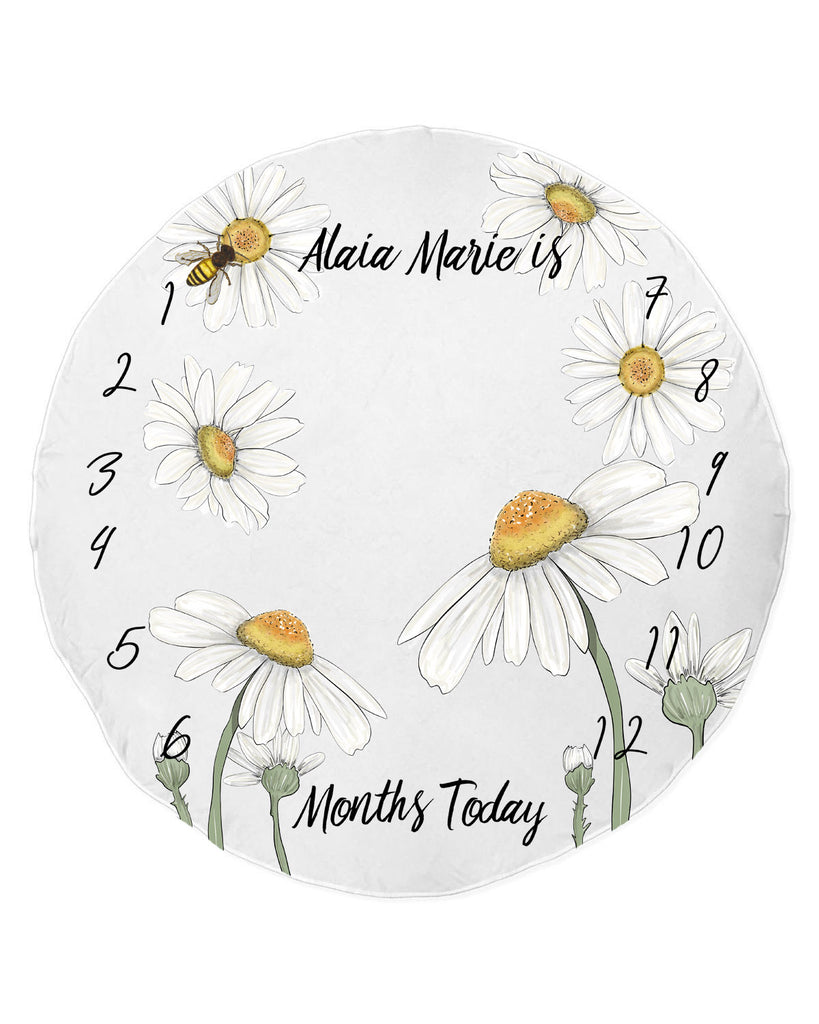Easy Daisy Round Beach Towel Milestone